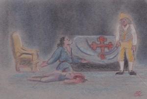 Giovanni, Donna Anna and Leporello in the Commendatore's crypt.