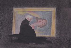 Don Ottavio broods by the portrait of Donna Anna.
